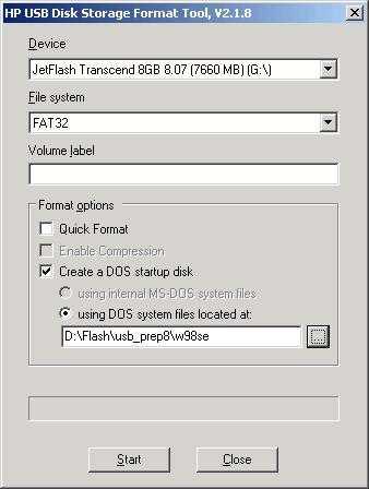 Экран 4.Запуск утилиты HP USB Disk Storage Format Tool